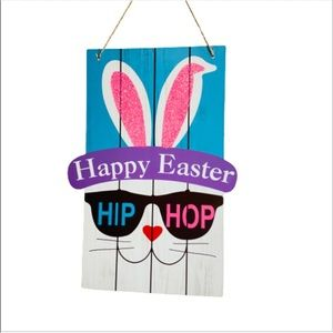 Happy Easter Hip Hop Wood Wall Hanging Decor